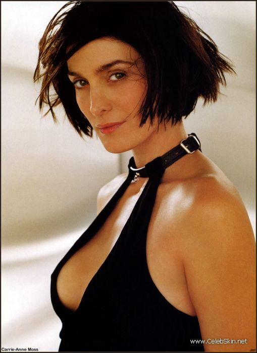 Carrie-Anne Moss. sexy kick-ass action chica nude under the shower